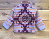 KANAINE Wool Children's Collared Jacket in Tribal Design - Kids Hooded Zipper Coat -  Sz 7 - Girls Purple Winter Coat - Christmas Coat