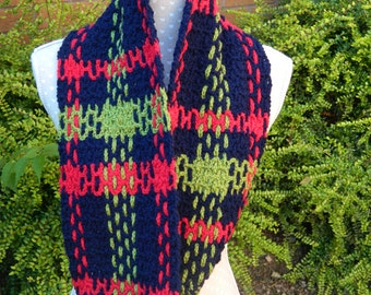 Tartan Style Snood in Blue, Red and Green