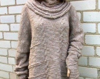 Long  Hand Knitted Sweater with Hood.
