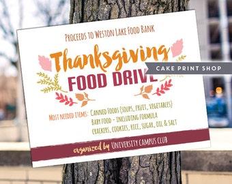 School Event Flyer, Food drive poster, Church bake sale, Thanksgiving Food Drive, fundraiser, Coat Drive Flyer, Canned Food Drive
