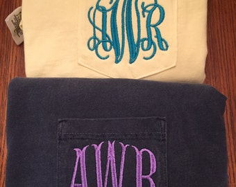 SALE!!!! Monogrammed Comfort Colors Long Sleeve Pocket Tee