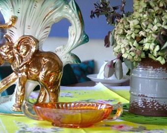 Vintage Irridescent Amber Glass bowls