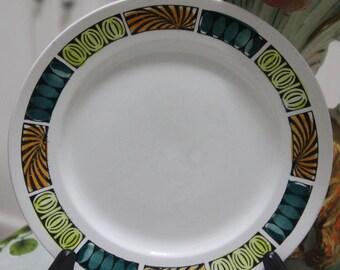 """Vintage 1960's Staffordshire Broadhurst Ironstone Kath Winkle design """"Mardi gras"""" Dinner Plate"""
