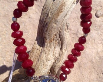 Red Garnet & Ruby Mala Bracelet