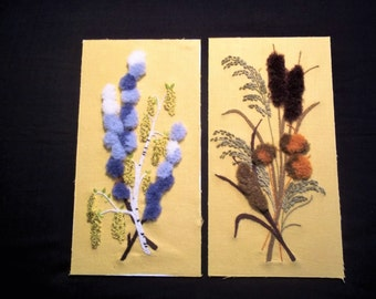 Two Vintage Embroideries - Cat Tails and Flowers