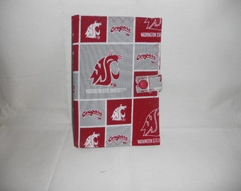 Washington Cougars Fabric Cover for 6x4 Memo Notebook - Includes Memo Pad and Pen