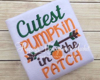Cutest Pumpkin in the Patch Embroidered Shirt Infant Bodysuit Fall Halloween Thanksgiving Arrow