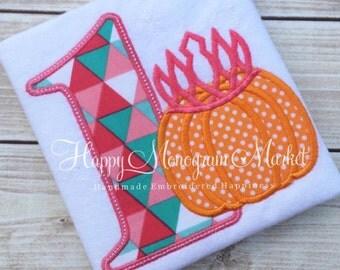 Pumpkin Princess Birthday Applique Shirt Pumpkin Crown Number Bodysuit Pink and Orange First Halloween First Birthday Personalized Outfit