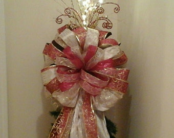 Christmas Tree Topper Bow,SHIPPING INCLUDED, Lighted Tree Topper,XL Luxury Designer Tree Topper Bow, Religious, Gold, Red Bow, Holiday Decor