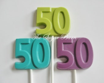 50th Chocolate Lollipops*12 Count*50th Birthday*Golden Anniversary*Wedding*Party Favor*Fifty Years*Class Reunion Favor*Party Supply*Candy