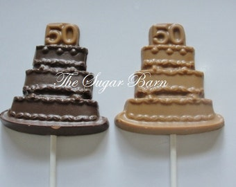 50 YEARS CAKE Chocolate Lollipop*12 Count*50th Birthday*Golden Anniversary*50 Wedding Anniversary*Party Favor*Fifty Years*Candy Pop