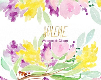"Watercolour flowers, wreath and arrangement ""Solene"". Hand drawn clipart. Elegant wedding invitation, blog. Watercolor clipart."