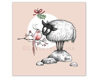 Xmas card sheep, Christmas art, bird, Connemara sheep illustration, Christmas art cards, Irish winter Holiday art card, big eyed sheep