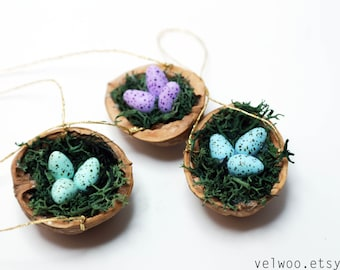 Bird Nest ornament Christmas Tree nusthell walnut shell mix colors Holiday decor Package Tie Ons mint purple blue