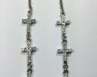 Long paved stone crystal Cross earrings ~ Rhinestones