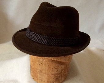 Vintage Brown Velour Fedora Hat