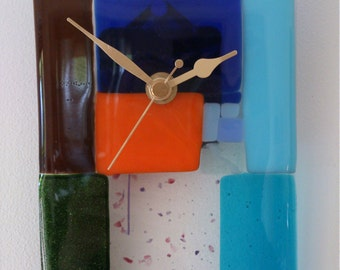 Handmade Fused Glass Clock with Quartz Movement