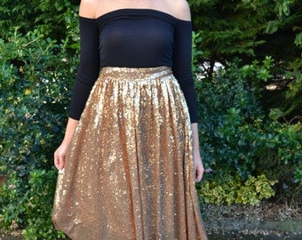 Custom made 'April' full pleated skirt with flat waistband street style sparkling separates