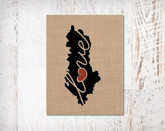 Albania Love - Burlap or Canvas Paper State Silhouette Wall Art Print / Home Decor (Free Shipping)