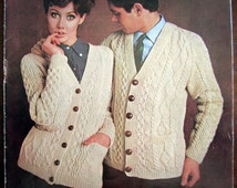 Sunbeam Knitting Patterns : Mens & Womens ARAN CARDIGAN 1960s Vintage Knitting Pattern - Ar...