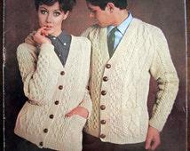 Mens & Womens ARAN CARDIGAN 1960s Vintage Knitting Pattern - Ar...