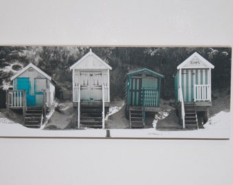 """Blue and white beach huts, photo print mounted on wood. 4x10"""""""