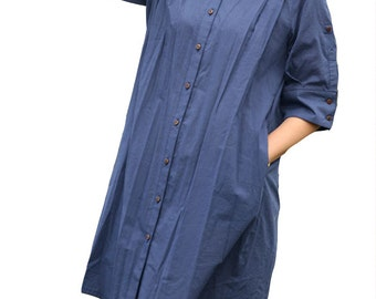 Babydoll collar blue shirt dress