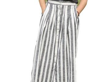 Simple long maxi skirt black white stripe