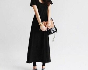 Round neck flare black summer dress