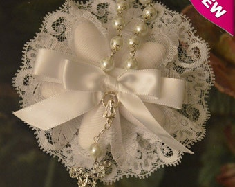 Confetti Flowers Almond  Flowers Baptism Christening koufeta mementos with rosary Favors  Bomboniere