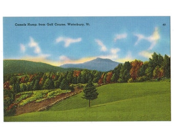 Waterbury Vermont vintage linen postcard | Camels Hump | Blush Hill Country Club, Green Mountains golf course | 1940s VT wedding decor