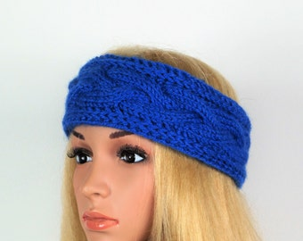 Blue Alpaca Wool Turban, Ear Warmer Headband, Knitted Ear Warmer, Knitted Head Band, Turban Style Headband