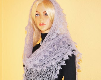 Grey Mohair Scarf For Spring Season