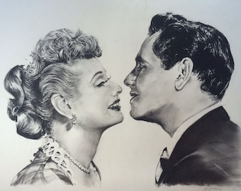 """Lucy and Desi, original large charcoal portrait 18""""x24""""drawing"""