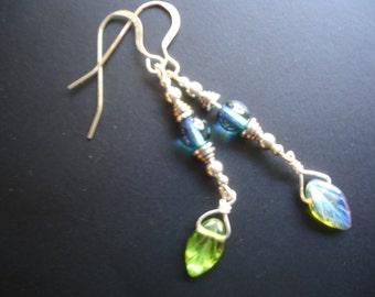 Iridescent leaf silver drop earrings