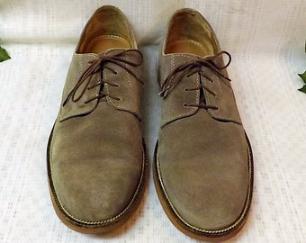Vintage Bostonian Mens Eastbend Gray Suede Bucks Oxfords Size 10M