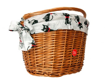 Classic Wicker Bike Basket with liner Cats, Bike Belle