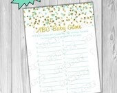Gold and mint Baby shower games abc baby game glitter Printable INSTANT DOWNLOAD UPrint by greenmelonstudios glitter baby shower