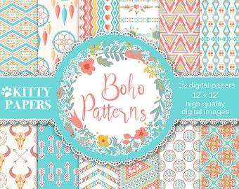 Boho digital paper : Boho Patterns - ethnic digital paper, native american patterns, bohemian patterns, digital paper pack, hippie patterns