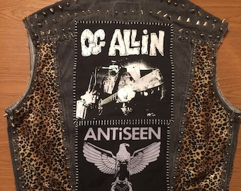 Mens XL Black Denim Punk Vest