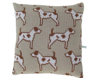 Jack Russell Terrier Knitted Cushion Cover