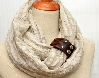 Oatmeal Linen Infinity Scarf, Chunky Scarf. Natural Linen, Oatmeal color, Brown leather cuff, Linen scarf