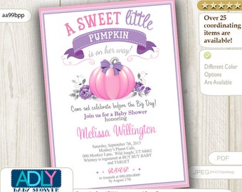 Purple Pink Pumpkin Girl Shower Invitation,grey,pastel Little Pumpkin on her way, lilac, lavender,printable invitation, beige, bow - aa99bpp