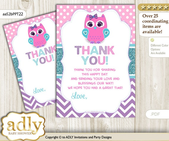 Girl Owl Thank you Card Printable for Baby Girl Shower or