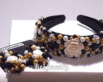 Baroque Rose Headband, bead embroidered headband and earrings,high fashion crown, DG headband, dolce gabbana headband, beaded headband