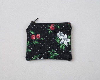 Pretty Small Coin Purse, Retro Floral and Cherries Fabric, Eco-friendly Accessory, Gift Idea for Her, Tiny Zipper Pouch, Vintage Inspired