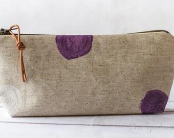 Laminated pencil case,oilcloth pencil case,dots pencil case, zipper pouch, cosmetic case