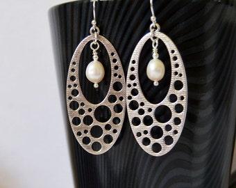White Pearl Drop Earrings, Dangle Earrings, Modern Silver Earrings, Long Dangle Drop Earrings,  Clip or Pierced