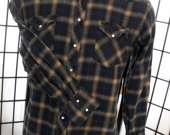 Wrangler mens flannel western rodeo pearl snap brown plaid check long sleeve shirt xl