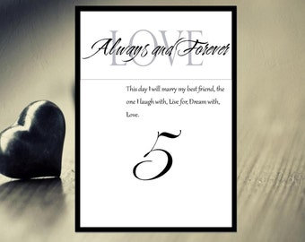 Always and Forever, Table Cards Wedding, Table Numbers, Do It Yourself Wedding Templates, Black and White, Printable Table Numbers Template